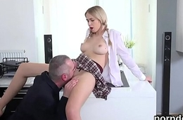 Dear schoolgirl was tempted and drilled by her elderly dominie