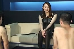Japanese femdom Risa remarkable CFNM and anal fingering