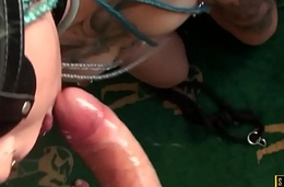 Tattooed british slut throatfucked in BDSM