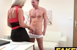 Female Agent Cum hungry horny agent gets fucked and swallows a big load