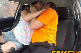 Fake Driving School Messy creampie climax for sexy sharp practice bind