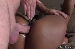 Spot on target booty ebony anal fucked at one's disposal casting