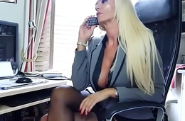 Blonde office boss Y-fronts nylons tease