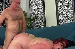 Redhead BBW gags on cock before being fucked