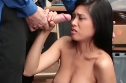 Petite little asian offender punished of shoplyfting by a big dick