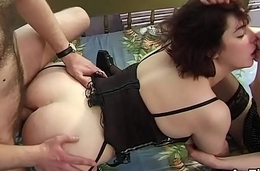 Ill-behaved lesbo babes are gaping and fist fucking butt holes