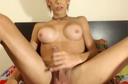 Sexy Shemale Babe Plays at bottom touching her Rock Lasting Load of shit at bottom Cam