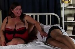 Super cute beamy brunette loves cum all over her feature and nice big tits