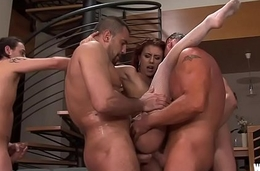Red Haired call-girl gets a Bukkake and Cream pie - HD Gang Bang
